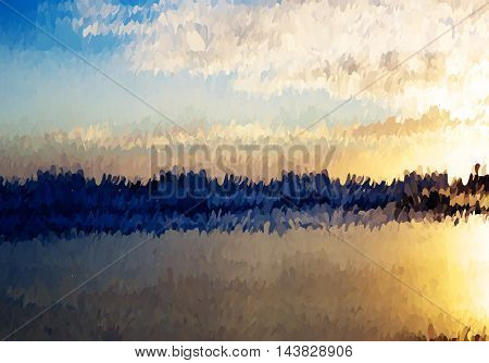 Abstract Oil Painted Sunset Ocean