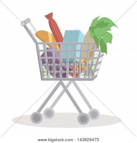 Shopping cart full with groceries on white background