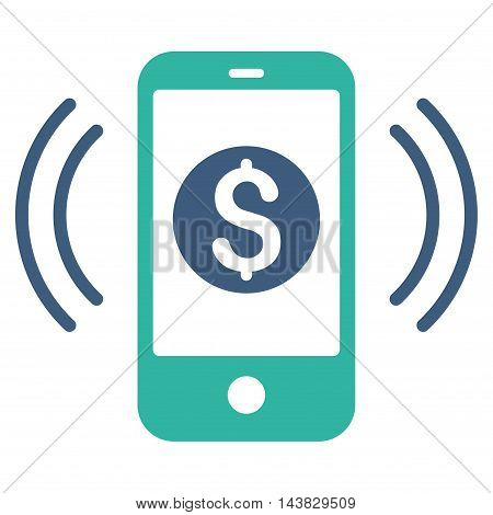 Payment Phone Ring icon. Vector style is bicolor flat iconic symbol with rounded angles, cobalt and cyan colors, white background.