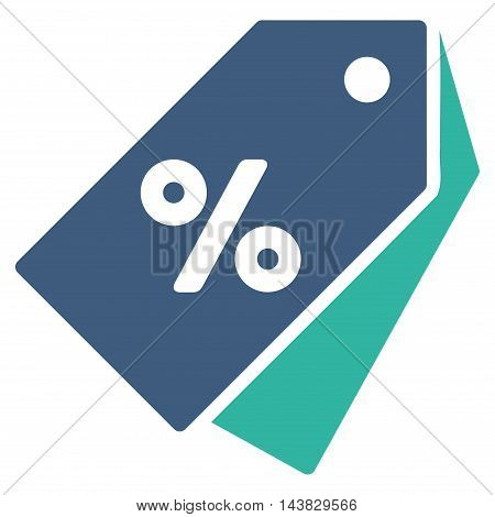 Percent Discount Tags icon. Vector style is bicolor flat iconic symbol with rounded angles, cobalt and cyan colors, white background.