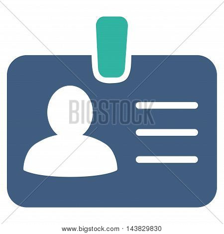 Person Badge icon. Vector style is bicolor flat iconic symbol with rounded angles, cobalt and cyan colors, white background.