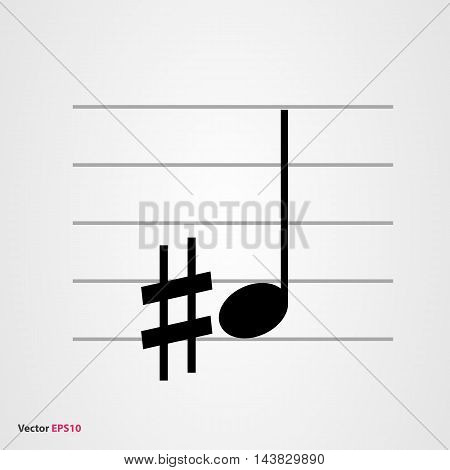 Musical symbol sharp with quarter note and staff