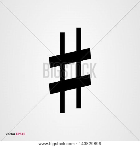 Black musical symbol sharp on gray background