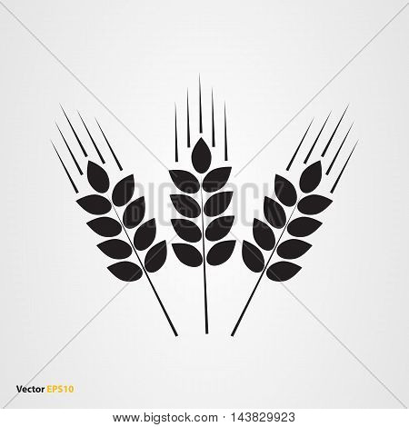 Vector icon of three wheat ears in flat style