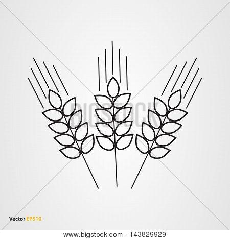 Vector icon of three line wheat ears