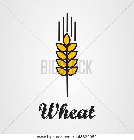 Vector icon of wheat spike in flat style