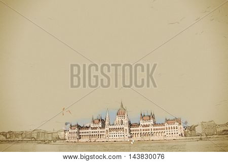Gorgeous view of Budapest Parliament building in sunset under big clouds, near glittering water of Danube. Vintage painting, background illustration, beautiful picture, travel texture