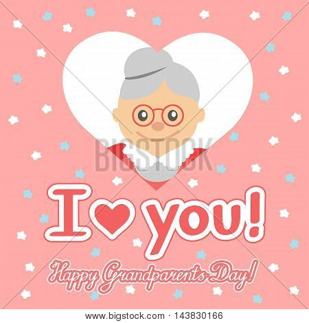Happy grandparents day. Elderly woman in heart with lettering. Vector illustration for greeting.