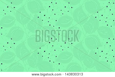 Fabric Design Leaves On Green With Dots