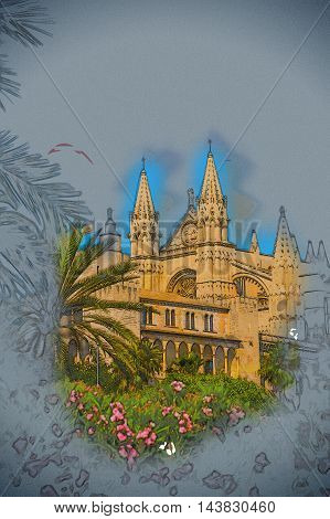 Cathedral of Palma de Mallorca viewed through lush greenery of the island. Big gothic church beside palm trees under the blue sky at sunset. Modern painting, background illustration.
