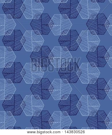 Hatched Hexagons Intersecting Blue