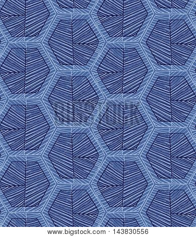 Hatched Hexagons Light And Dark Blue