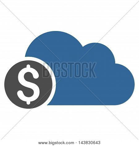 Banking Cloud icon. Vector style is bicolor flat iconic symbol with rounded angles, cobalt and gray colors, white background.
