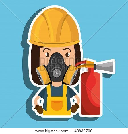 woman mask extinguisher icon vector illustration eps 10