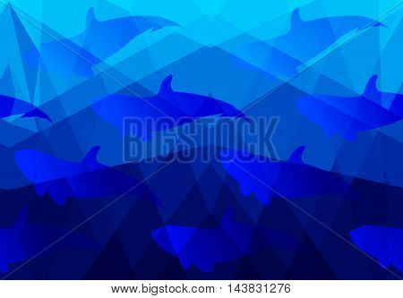 Low Poly Sea With Fish Shadow