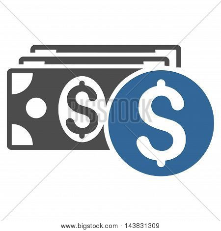 Dollar Cash icon. Vector style is bicolor flat iconic symbol with rounded angles, cobalt and gray colors, white background.
