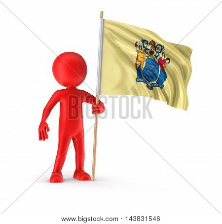 3D Illustration. Man and flag of the US state of New Jersey. Image with clipping path