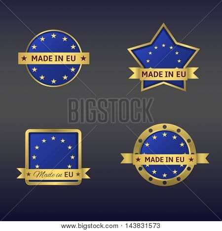 Made in European Union label set. Golden labels with blue background