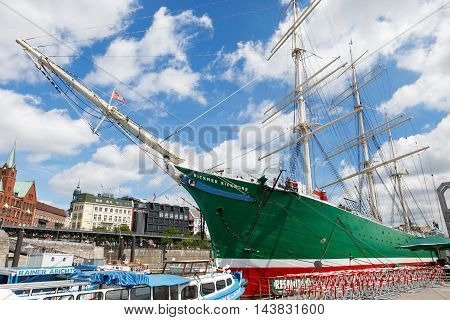 Hamburg Germany-June 26 2011:Ship Rickmer Rickmers in Hamburg. The Rickmer Rickmers is a sailing ship - three masted barque museum ship in harbor of Hamburg.