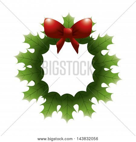 leaves bowtie ribbon red crown merry christmas decoration celebration icon. Flat and isolated design. Vector illustration