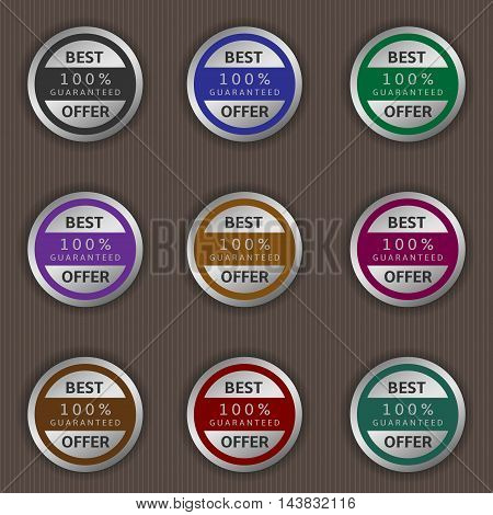 Best offer label set. Guaranteed badges, Vector illustration