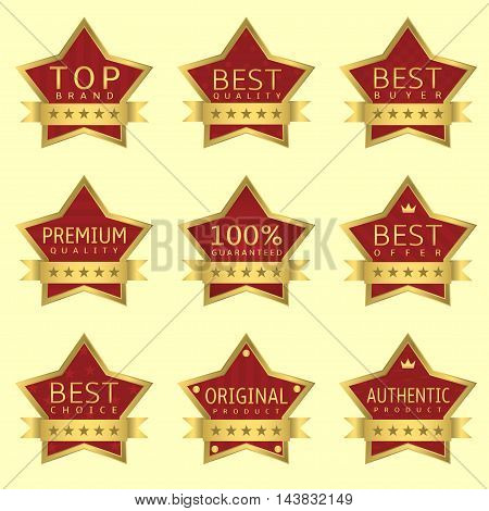 Red Star labels with golden frames and ribbons. Authentic product, Original product, Best quality, Best offer, Guaranteed