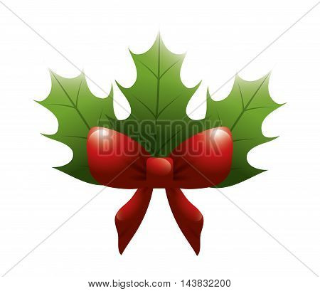 leaves bowtie ribbon red merry christmas decoration celebration icon. Flat and isolated design. Vector illustration