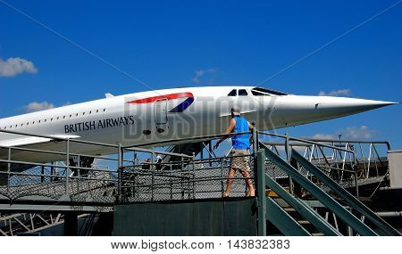 New York City - August 22 2004: A British Airways SST Concorde aircraft on display at the Intrepid Air & Space Museum