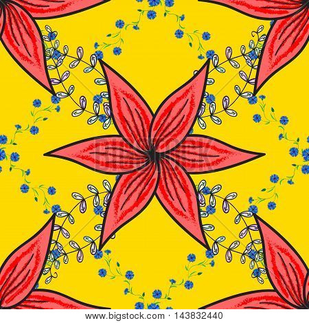 Yellow background with blue leaves with floral doodlesn and five red flowers.