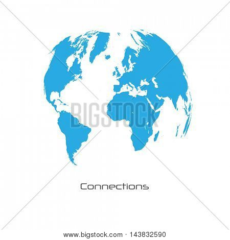 World Map Connections Vector Illustration