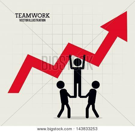 pictogram arrow teamwork support collaborative unity icon. flat design. Vector illustration