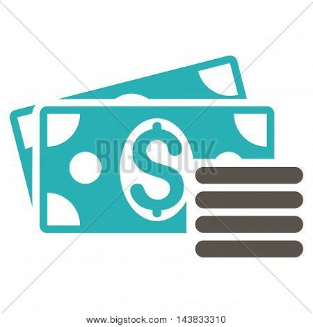 Dollar Cash icon. Vector style is bicolor flat iconic symbol with rounded angles, grey and cyan colors, white background.