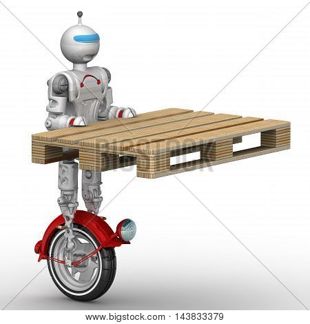 Robot on unicycle holds a pallet. Humanoid robot on unicycle standing on a white surface and holds a pallet. Isolated. 3D Illustration