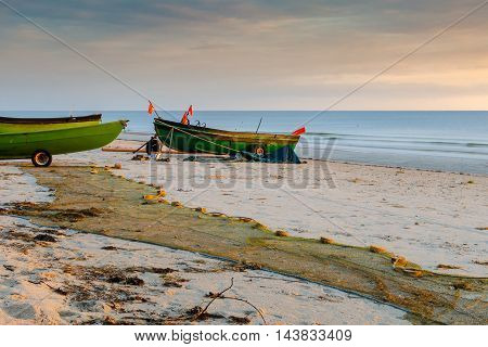 Coastal landscape with fishing boat of local fisheries, Baltic Sea