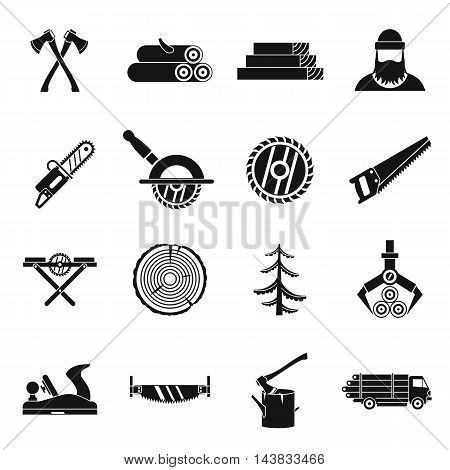 Timber industry icons set in simple style. Lumberjack equipment set collection vector illustration