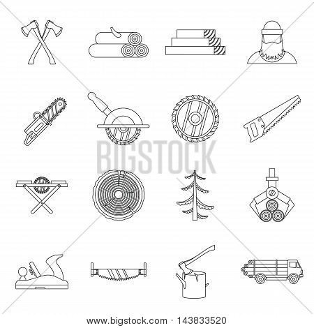 Timber industry icons set in outline style. Lumberjack equipment set collection vector illustration