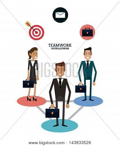 avatar man woman envelope target suitcase teamwork support collaborative unity icon. flat design. Vector illustration