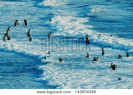elevated view of people having fun at sea