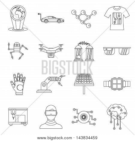 New technologies set in outline style. Innovative app and gadget set collection vector illustration