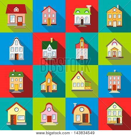 House icons set in flat style. Private residential architectureset collection vector illustration