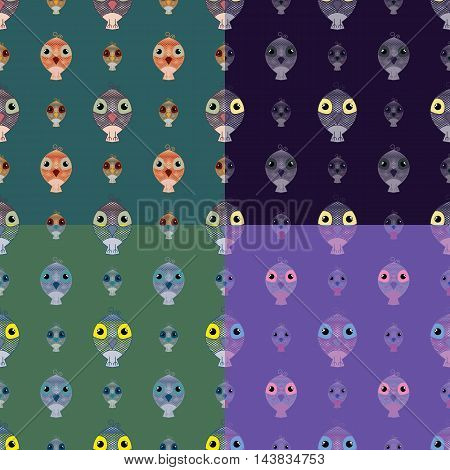 Set of seamless pattern owl backgrounds. Simple and cute illustration