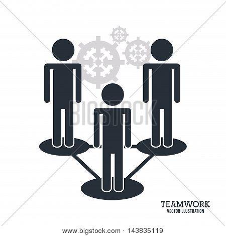 pictogram gear teamwork support collaborative unity icon. flat design. Vector illustration