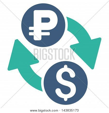 Dollar Rouble Exchange icon. Vector style is bicolor flat iconic symbol with rounded angles, cobalt and cyan colors, white background.