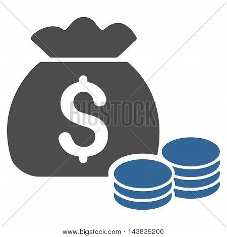 Money Bag icon. Vector style is bicolor flat iconic symbol with rounded angles, cobalt and gray colors, white background.