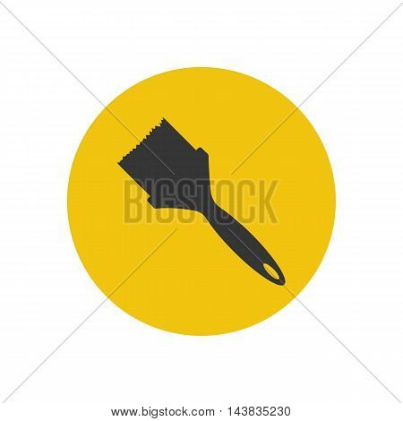 Paint brush illustration on the yellow background. Vector illustration