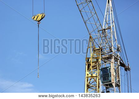 the a building crane on sky background