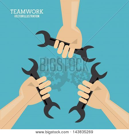 gear wrench hand teamwork support collaborative unity icon. flat design. Vector illustration