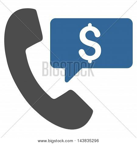 Phone Order icon. Vector style is bicolor flat iconic symbol with rounded angles, cobalt and gray colors, white background.