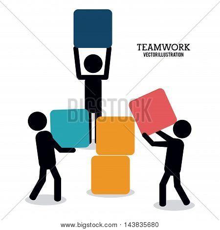 pictogram cube teamwork support collaborative unity icon. flat design. Vector illustration