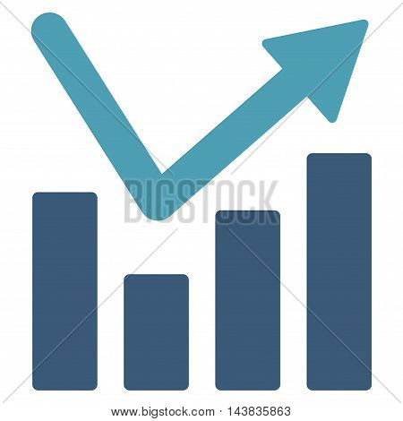 Bar Chart Trend icon. Vector style is bicolor flat iconic symbol with rounded angles, cyan and blue colors, white background.